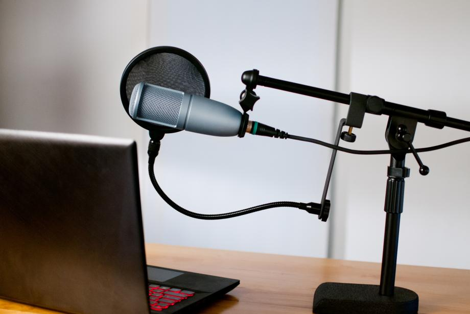 Podcaster's studio at home
