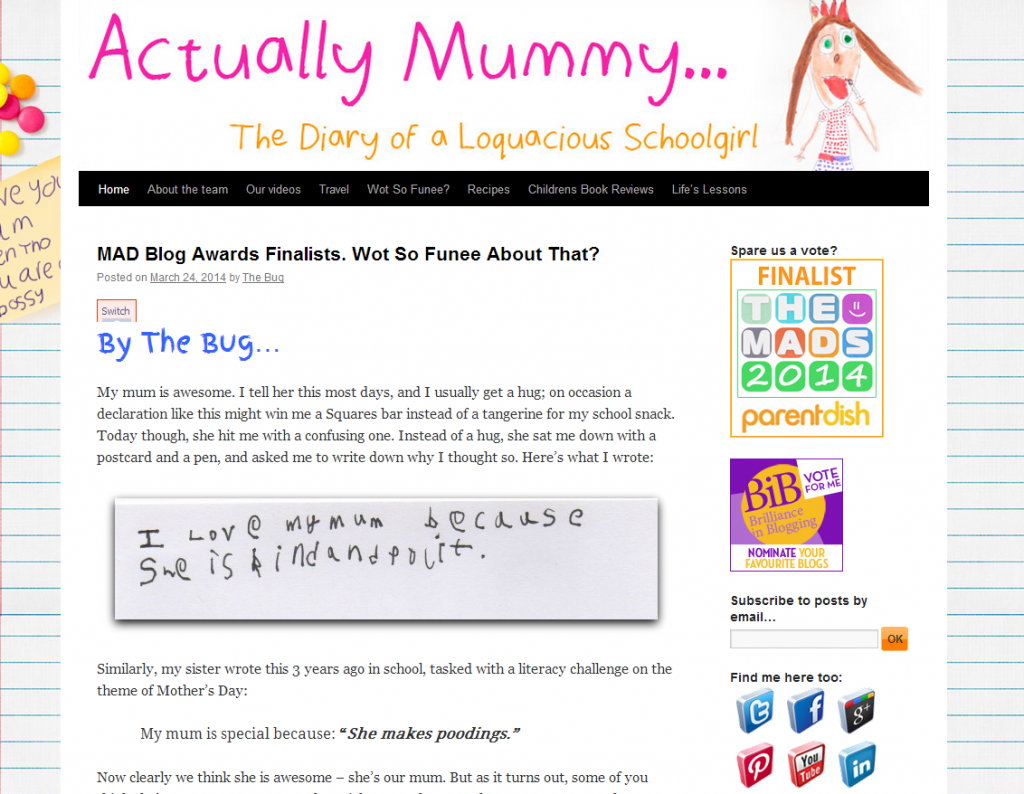 Actually Mummy homepage screen grab