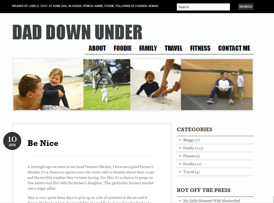 Dad Down Under homepage screen grab
