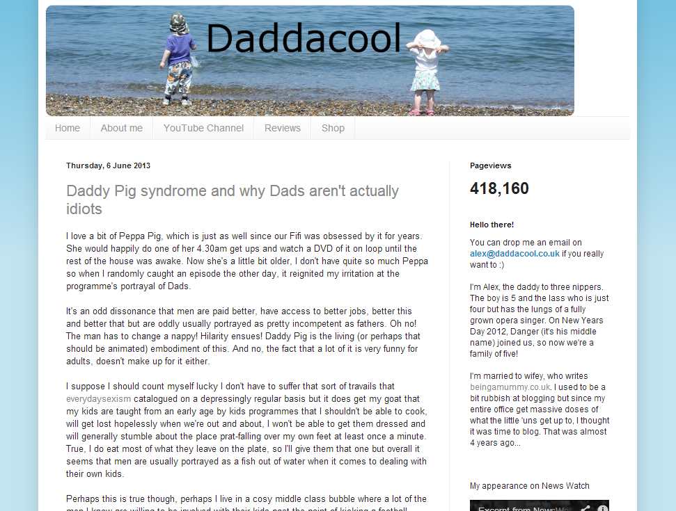 Daddacool homepage screen grab