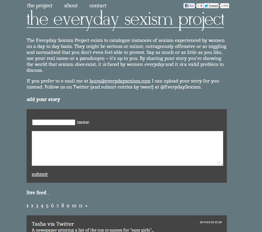 Everyday Sexism screen grab | CollectivEdge