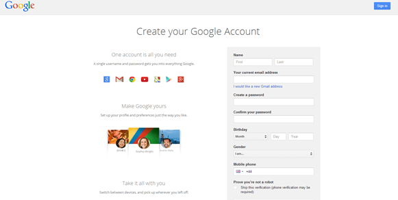 Getting a Google account