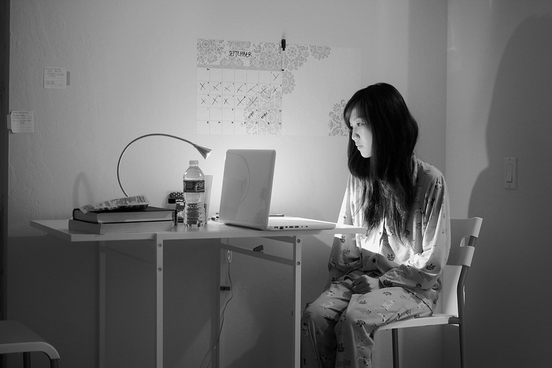 Girl at computer by tokyoexpressway