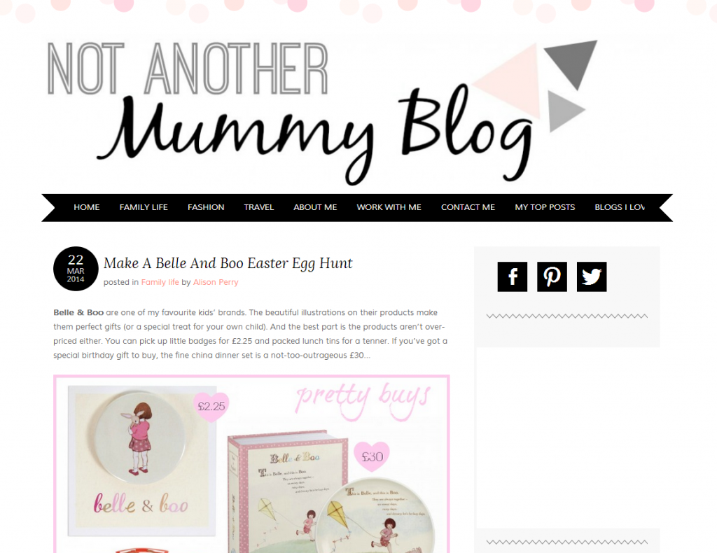 Not Another Mummy Blog homepage screen grab