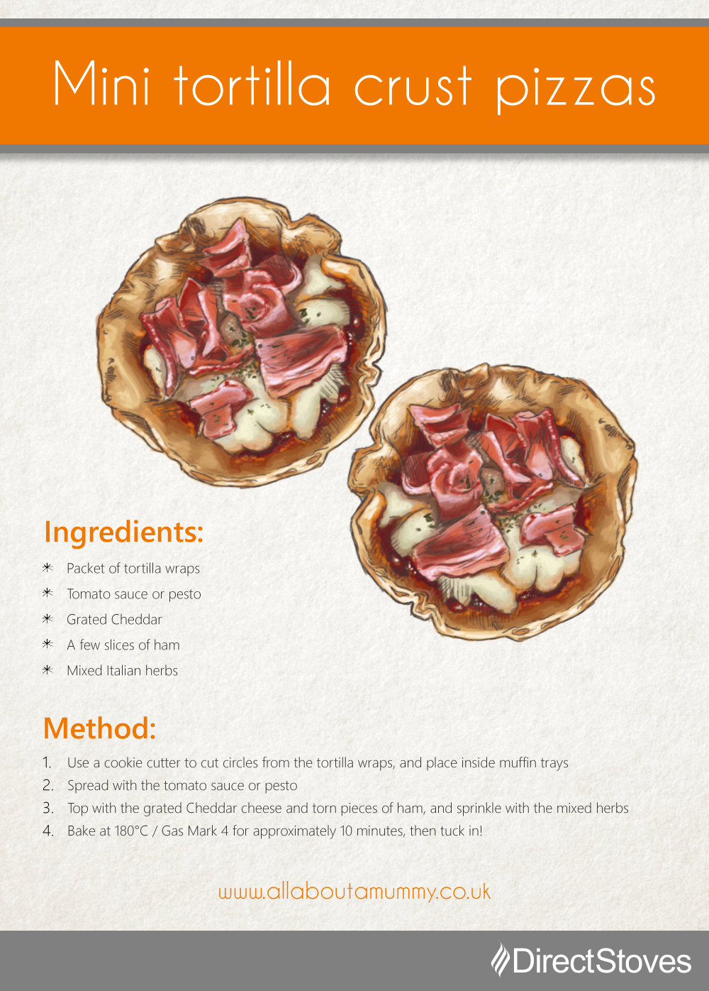 Pizza recipe card: Mini tortilla crust pizzas