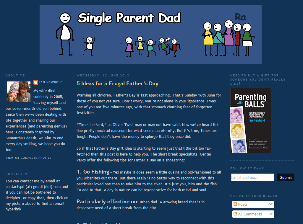 Single Parent Dad homepage screen grab