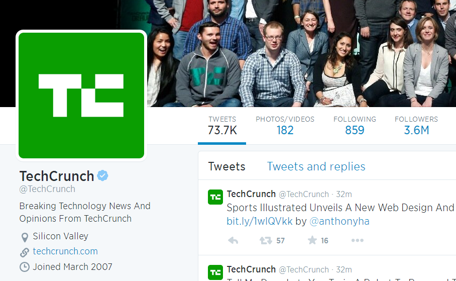 Tech Crunch twitter profile