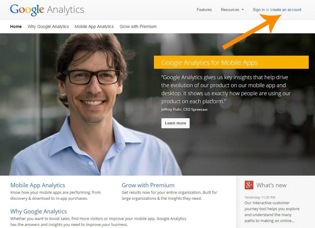 analytics homepage