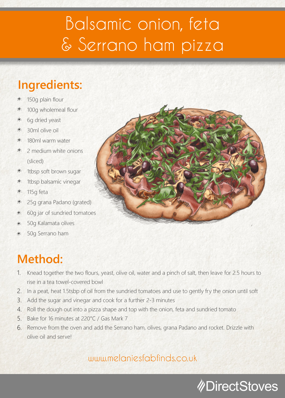 Pizza recipe card: Balsamic onion, feta & Serrano ham pizza